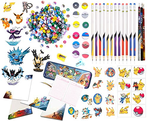 - Totem World 470 pc Pokemon Party Favor Supply Mega Pack - Includes Pokemon Figure Erasers Pencil Sticker, Tattoo and More - Perfect for Christmas Gift Stocking Stuffer !