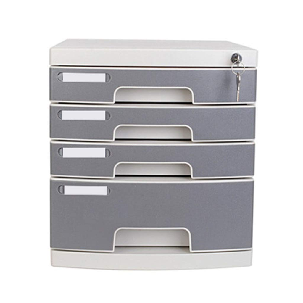 File Cabinet 4-Layers Lock Office File Storage Cabinet Drawer Cabinet Desktop Plastic Flat File Cabinet