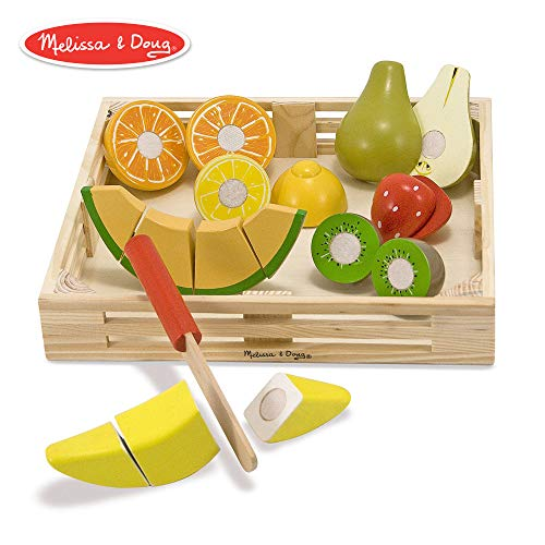 Melissa & Doug Cutting Fruit Set (Wooden Play Food, Attractive Wooden Crate, Introduces Part and Whole Concepts, 17-Piece Set)]()