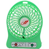 Eurus Home Portable18650 lithium-ion Rechargeable Fan with Mini USB Fan 4-inch Vanes 3 Speeds With Mini USB Table Fan (Green)