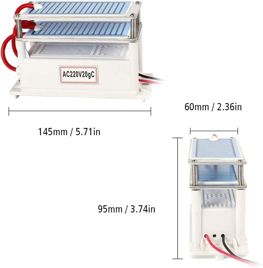KKmoon 20g//h 220 V Keramik Ozongenerator,Doppel Integrierter Platten Ozonisator Tragbarer Wasser Luftreiniger f/ür die Sterilisation von Heimautos in der Chemiefabrik