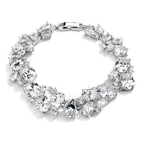 Mariell Bridal & Wedding Bracelet with Multi-Shaped Cubic Zirconia, Perfect for Brides or Mother of Bride ()