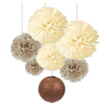 Romani Tech Pack of 7 Cream Tan Color Tissue Paper Pom Poms Brown Paper Lanterns for Party Wedding Birthday Decorations