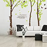 Large tree eall decal-nature forest brich tree wall-tree decal for living room -vinal flying brids tree wall decal-tree wall decal 150H