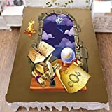 iPrint Bedding Duvet Cover Set 3D Print,Castle Window with Crystal Ball Clouds Parchment,Fashion Personality Customization adds Color to Your Bedroom. by 59''x78.7''