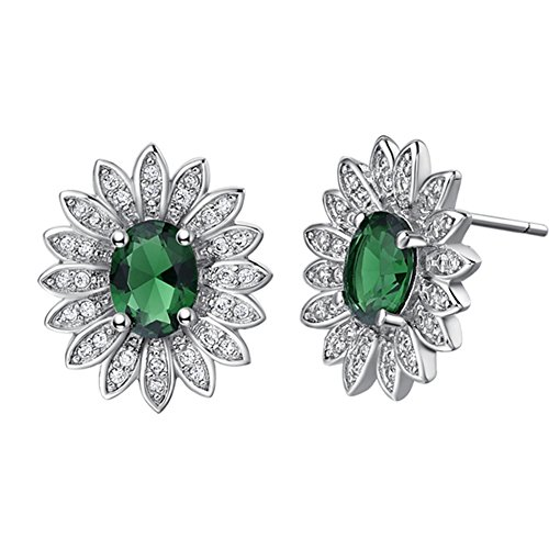 FENDINA 18K White Gold Plated Sunflower Birthstone Stud Earring Flower Cut Bling CZ Stone Paved Fashion Earrings for - Tory Birth