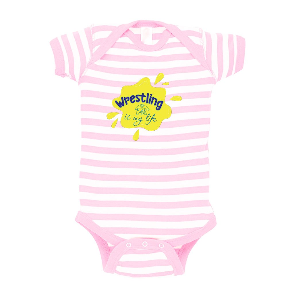 Wrestling is My Life Sport Baby Combed Ring-Spun Cotton Stripe Fine Bodysuit One Piece - White Soft Pink, 24 Months by Cute Rascals