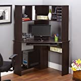 Morgan Furnitures Corner Computer Desk and Hutch, Black Oak Best Selling