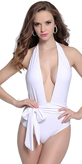 8358c0ed7d2d7 Amazon.com: White Plunging V-neck Halter Bow Knot One-piece Swimsuit ...