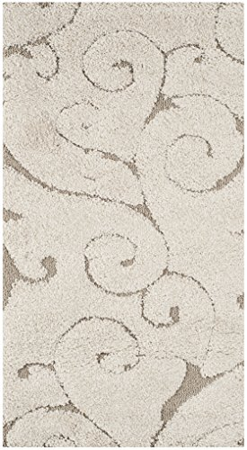 Safavieh Florida Shag Collection SG455-1113 Scrolling Vine Cream and Beige Graceful Swirl Area Rug (2'3