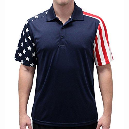 Mens Stars & Stripes Polo T-Shirt (Large, Navy)