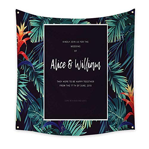 homehot Flower Tapestry Floral Wedding Invitation with guzmania Flowers Monstera and Royal Palm Leaves Exotic Hawaiian Vector Background Dorm Living Room Bedroom 47W x 47L Inch