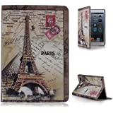Crazycity New Eiffel Tower Dual Fold Faux Leather Protective Case Cover for iPad Mini (Paris)