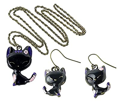 niceeshop(TM) Fashion Vintage Glazed Lady Cat Drop Earrings and Necklace Set