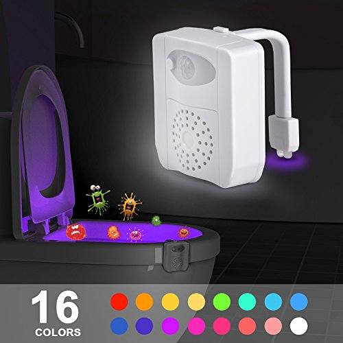 Sunnest Motion Activated Toilet Night Light, LED Toilet Seat Nightlight, Motion Sensor Toilet Bowl Light with UV Sterilizer & PVC Fragrance Slice-16 Color Changes  Modes, Fit Any Toilet