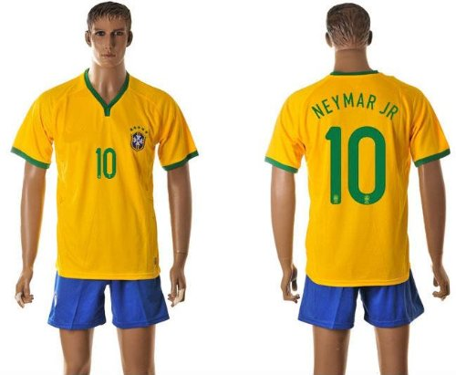 #10 NEYMAR JR Brazil Home Kid Soccer Jersey & Matching Short Set - Size:YXXL (for 12-15 years of age)