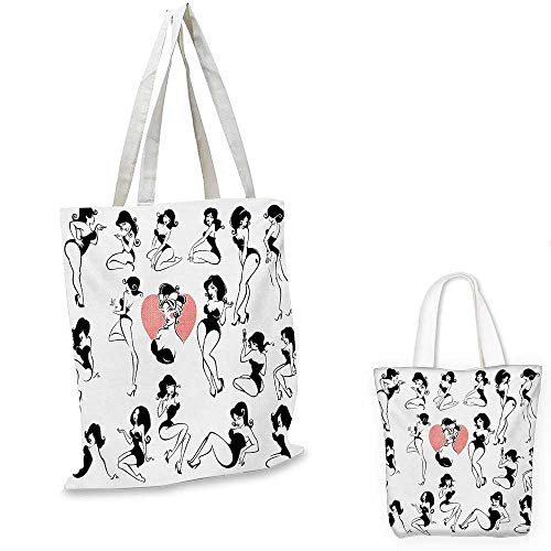(Girls portable shopping bag Famous Sexy Girl Model Posing with Full Body Features Heart Tattoo on Thigh Make Up shopping bag for women Black White. 13