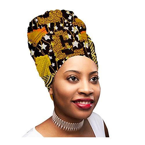 (Novarena Long Head Wrap for Women Kente African Print OR Jersey Stretch Hair Tie Scarf Turban (Ankara Black, Yellow, Green Orange, White Stars))