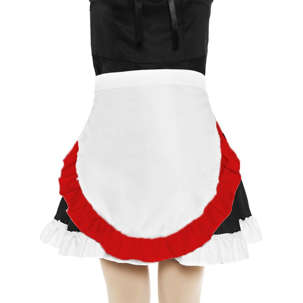 SUN2ROSE Girls Cosplay Waist Apron Tight Costume White Cotton Half Apron Kitchen Party Favors Also Fits for Kids Apron Small