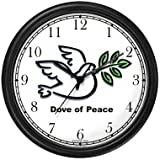 Dove of Peace - Christian or Jewish Theme Wall Clock by WatchBuddy Timepieces (Black Frame)