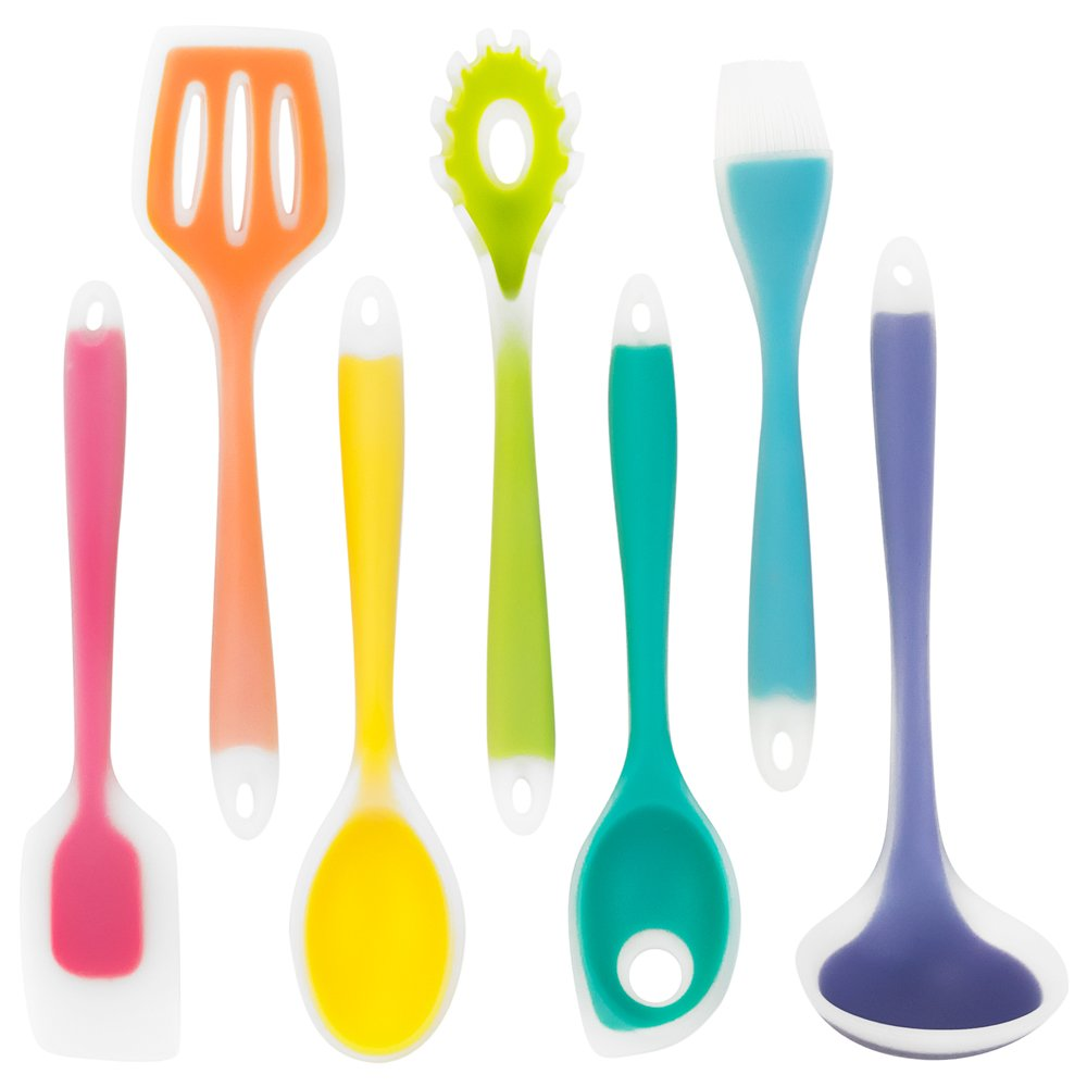 Silikon Rainbow Kitchen Utensils - 7 Piece Silicone Cooking Utensil Set with Spatulas, Spoons, Ladle, Strainer and Brush by Kÿchen