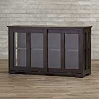 Buffet Cabinet With Sliding Tempered Glass Doors For Kitchen Or Dining Room - Contemporary Espresso Sideboard Server - Great Addition For Your Dining Room