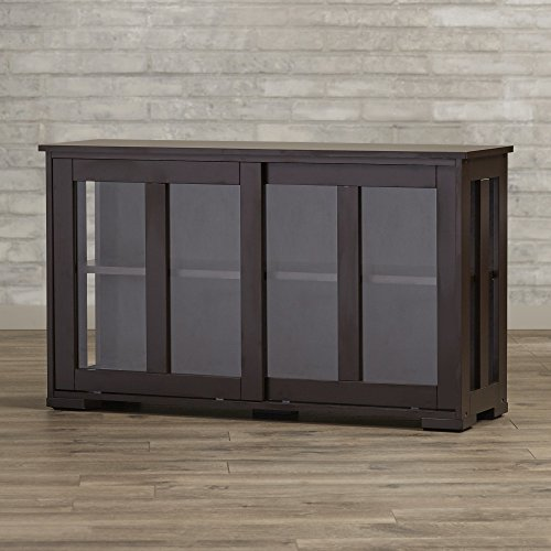 Buffet Cabinet With Sliding Tempered Glass Doors For Kitchen Or Dining Room