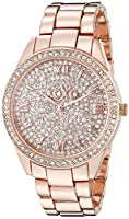 XOXO Women's Analog Watch with Rose Gold-Tone Case, Crystal Dial and Bezel, Fold-Over Link Clasp - Official XOXO Rose Gold Watch, Link Bracelet Strap - Model: XO5803