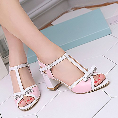 Party Strap Buckled Aisun Ankle Middle White Bow With Peep Toe Wedding Womens Chunky Sandals Cute Heel wgPqxRYng