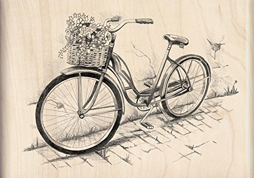 Bicycle Rubber Stamp - Inkadinkado Vintage Bicycle Wood Stamp for Arts and Crafts, 5'' L x 3'' W