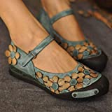 Mindress Women's Fashion Floral Flat with Round Toe Shoes Casual Comfortable Walking Buckle Ankle Strap Sandals Style Ballet Slip On