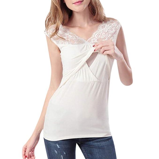 Mitlfuny Camiseta de Mujer Maternidad de Doble Capa, premamá Lactancia Blusa sin Manga Camisas Top de Lactancia sin Mangas de Encaje Color sólido sin Mangas para Mujeres Embarazadas: Amazon.es: Ropa y accesorios