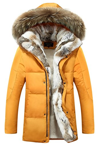 CYVVV Mens 90% Duck Down Hooded Luxurious Down Fur Coat Jacket Rex Fur Collar (US Medium, Yellow)