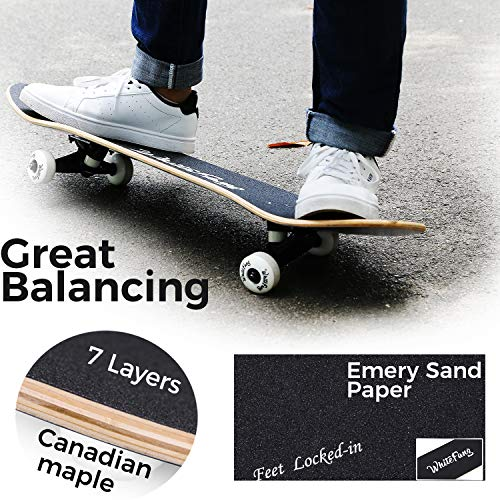 WhiteFang Skateboard Complete Skateboards 31 x 7.88, 7 Layer Canadian Maple Double Kick Concave Stan - http://coolthings.us
