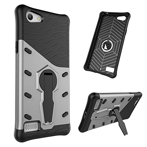 Shockproof Armor TPU/PC Case for Oppo Neo 7 A33 (Silver) - 1
