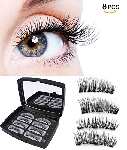 Magnetic Eyelashes False Eyelashes Fake Eyelashes Full Eye with 3 Magnets Eyelash Kit with Mirror Natural Look No Glue Reusable Eyelashes Extensions 8 PCS