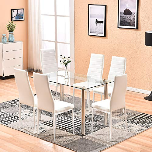 4HOMART Dining Table with Chairs, 7 PCS Glass Dining Kitchen Table Set Modern Tempered Glass Top Table and PU Leather Chairs with 6 Chairs Dining Room Furniture White (Set Pc Table Kitchen 7)