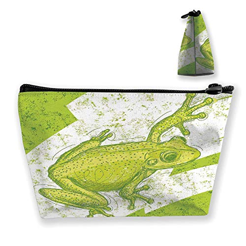- Ladies handbag Cosmetic Bag Wallet,Frog on Blur Dirty Grunge Background Exotic Tropic,Travel and Family Portable Cosmetic Bags