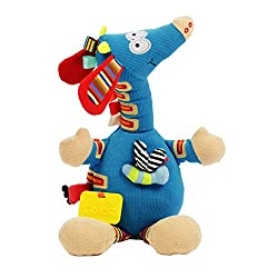 "Dolce Musical Giraffe Plush Interactive Stuffed Animal Plush Toy 15"", Educational Sensory Gift For Kids"