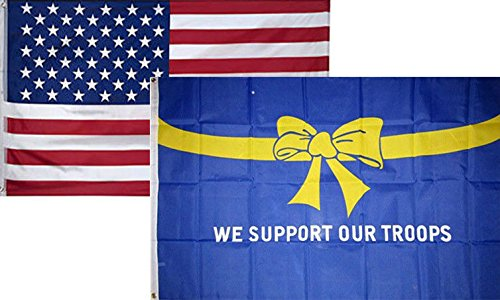 ALBATROS 3 ft x 5 ft USA American with Support Troops Ribbon Blue Flag 2 Pack for Home and Parades, Official Party, All Weather Indoors Outdoors