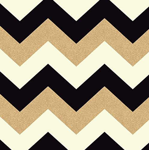 Arthouse, Glitterati Black Gold Chevron Glitter Wallpaper, Modern Home Décor (Gold Chevron Wallpaper)