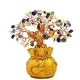 Omonic 7 Inch Multi Color Crysta Gem Stone Feng Shui Money Tree amethyst Rose Quartz Citrine Carnelian Clear Quartz Colorful Crytal Gem Money Tree