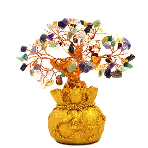 Color Crysta Gem Stone Feng Shui Money Tree Amethyst Rose Quartz Citrine Carnelian Clear Quartz Colorful Crytal Gem Money Tree ()