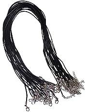 Kurtzy Cordón de Collar (25 pcs) - 45,5cm Negro Cuerda de Cadena con Broche de Langosta - 2mm Redondo Cordon, Colgante de Collar Cuerdas para la Joyería Que Hace, Pendientes, Gargantilla