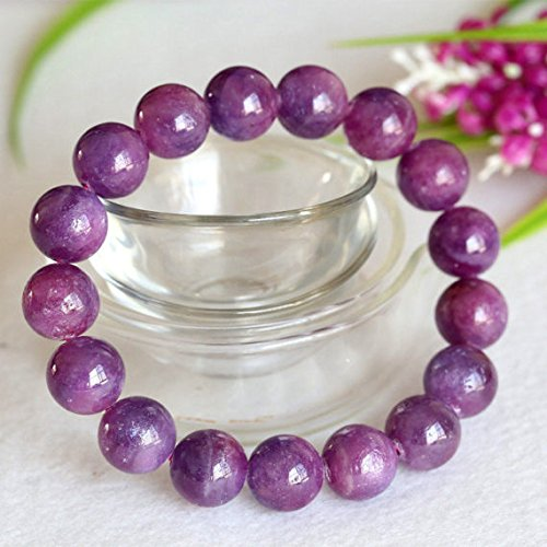 1 Strands Natural Purple Pink South Africa Ruby Stretch Bracelet Round Big beads 12mm 04362 by DivineArcade
