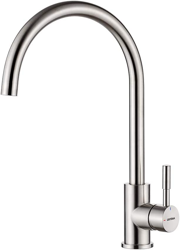 GRIFEMA GRIFERÍA DE COCINA-G4008 Stainless Steel Kitchen Mixer Tap with 360 Degree Swivel Spout, 3/8 Inch Hose, Nickel Brushed