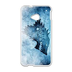 HTC One M7 Cell Phone Case White Winter is coming Phone cover O7507144