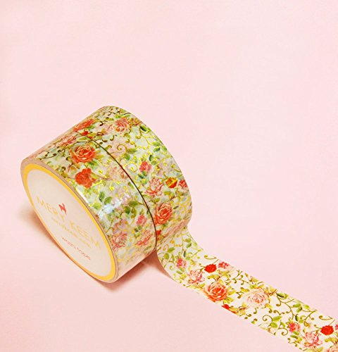 Vintage Flower with Gold Foil Washi Tape for Planning • Scrapbooking • Arts Crafts • Office • Party Supplies • Gift Wrapping • Colorful Decorative • M…