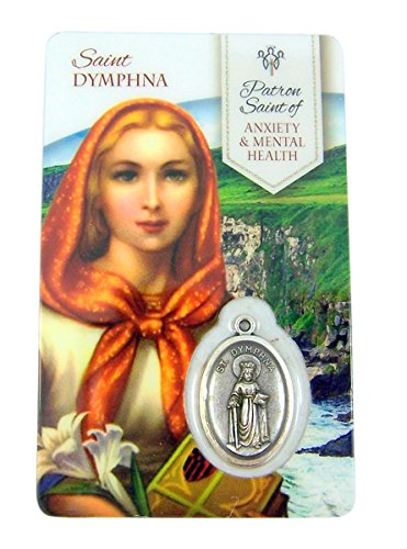 Patron Saint Medal Necklace - Silver Toned Saint Dymphna Patron of Anxiety and Mental Health Medal with Holy Card, 1 Inch