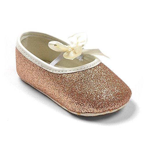 Lemandy bebé primera zapatos de senderismo Zapatos de bañador para bebé con mariposa BS001 rosa Talla:11cm dorado